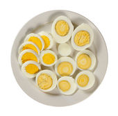Plate with sliced eggs — Stock Photo