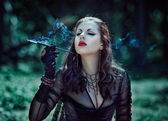 Girl with a cigarette Victorian style — ストック写真