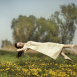 Levitation girls over field. — Stock Photo #39938877