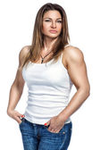 A female bodybuilder in everyday life. — Stock Photo