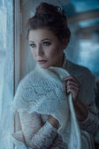 Girl in fluffy scarf. — Stock Photo