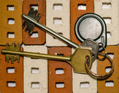 Keys and bricks — Zdjęcie stockowe