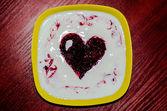 десерт с сердцем — Стоковое фото