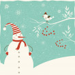 Christmas decoration with snowman and bird. — Vector de stock