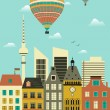 Stock Vector: Hot air ballons over city.