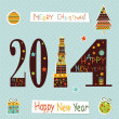 Happy New Yea  greeting card.Vector — Stock Vector