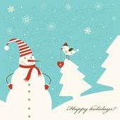 Christmas decoration with snowman. — Vector de stock
