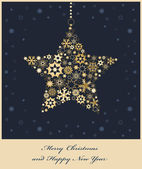 Christmas star from golden snowflakes — Stock Vector