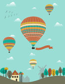 Hot air balloons over the country. — Cтоковый вектор