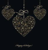 Christmas decoration with golden hearts — Stock Photo