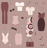 Set of women clothes and accesories. — Stock Vector