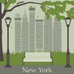 Central Park. New York. USA. — Stock Vector