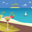 Cocktails on the tropical beach. — Stock Vector