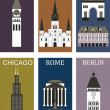 Stock Vector: Famous cities