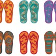 Six pairs of colorful flip flops — Stock Vector