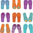 Nine pairs of colorful flip flops. — Stock Vector