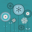 Floral background on blue. — Imagen vectorial