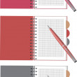 Vector notebook and pen set. — Stock Vector