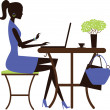 Woman with laptop in the cafe. — Stock Vector