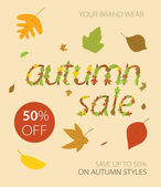 Autumnal discount with leaves. — Stock Vector