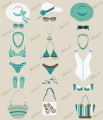 Beach sets for women. — Stock Vector