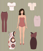 Dress up paper doll. — Stock Vector