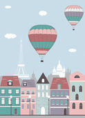 Hot air balloons over Paris. — Stock Vector