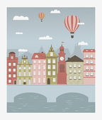 Hot air balloons flying over the little town — Stock Vector