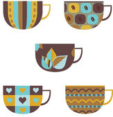 Set of colorful coffee cups. — Stock Vector