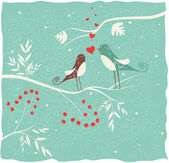 Two birds in love at winter time. — Vector de stock