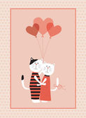 Two cats in love with balloons. — Vector de stock