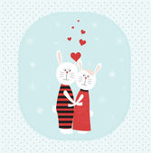 Two rabbits in love at winter. — Stock Vector