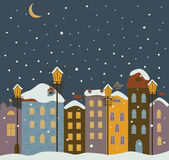Winter town at night. — Stock Vector