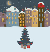 Winter town with christmas tree — Stock Vector