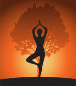 Woman in yoga tree pose — Stock Vector