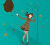 Woman with umbrella in the park. — Stock Vector