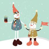 Christmas gratulationskort med två stiliserade snögubbar. — Stockvektor