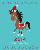 Christmas card with a fun horse — Stock Vector