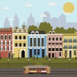 Illustration of City street. — Stock Vector