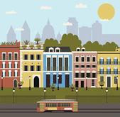 Ilustración de la calle de la ciudad. — Vector de stock