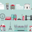 Stock Vector: Symbols of famous cities