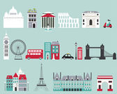 Symbols of famous cities — Stock Vector