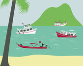 Boats on tropical beach in Thailand — Stock Vector