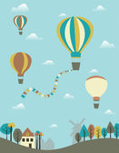 Hot air balloons over the country. — Stock Vector