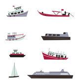 Set of boats — Wektor stockowy