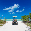 Young man driving on a golf cart at tropical white beach — Stock Photo #50260315