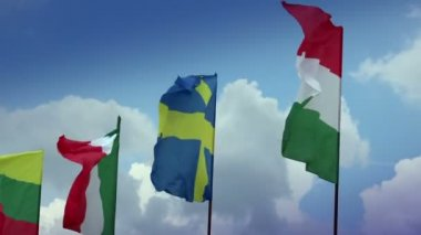 Various flags on flagpoles: Sweden, Hungarian, Italian, Romanian — Stock Video