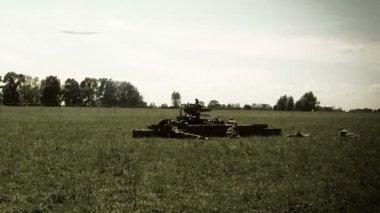 Reconstruction of second world war battle — Stock Video