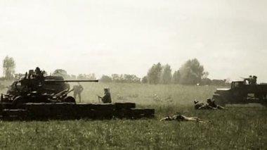 Vintage shots second world war, reconstruction — Stock Video
