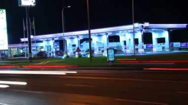 Gas station night timelapse — Video Stock